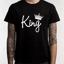 King Queen Letter Print Long Sleeve Couple T-Shirt