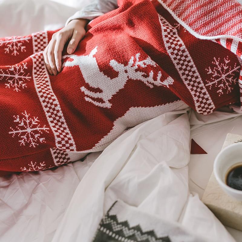 IDouillet Peúga Do Natal Snuggly Em Forma Cobertor Wearable Cobertor Lance para Sofá Cama Couch Decor Malha de Viagem Ao Ar Livre Vermelho - 4