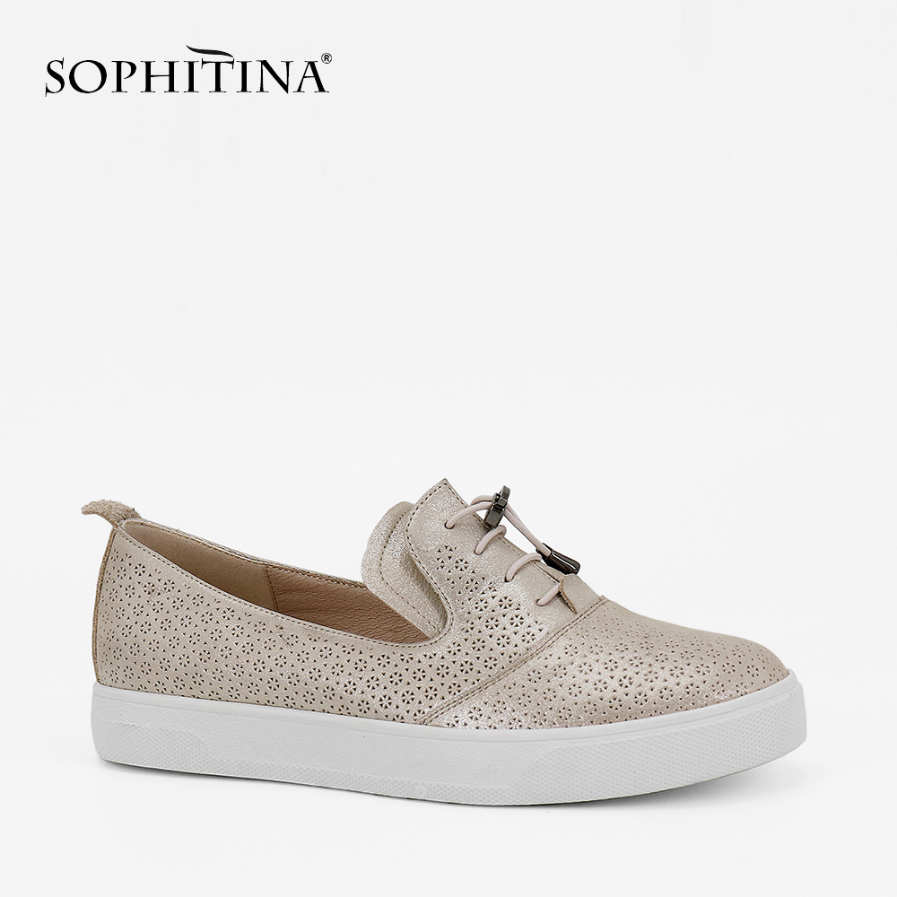 SOPHITINA Luxury Woman Loafers Genuine Leather Lace-up Flats Retro Round Toe Solid Casual Female Shoes Soft And Comfortable P84 2016 mother shoes genuine leather loafers woman solid color soft comfortable ballet flats flexible round toe ol lady work shoes