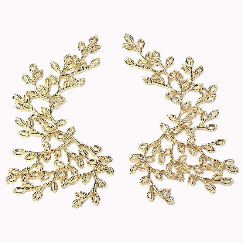 Big Gold Leaf Branch Charm For DIY Jewelry Making Supplies Wedding Bridal Hair Decoration Components Handmade Jewelry Findings