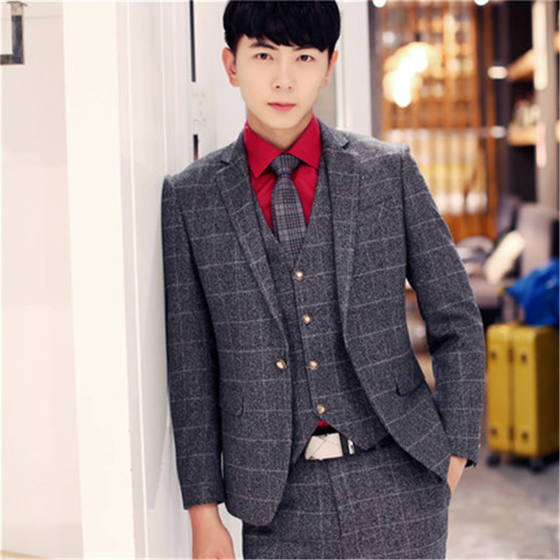 Grey autumn winter men suit 3 piece suits men groom green tuxedo terno masculino blue mens plaid suits wedding suits for men