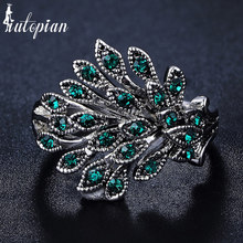 Iutopian Brand New Arrival 4 Colors Vintage Retro Phoenix Feathers Ring with Rhinestone Anti Allergy for Women 1#G2209green(China)