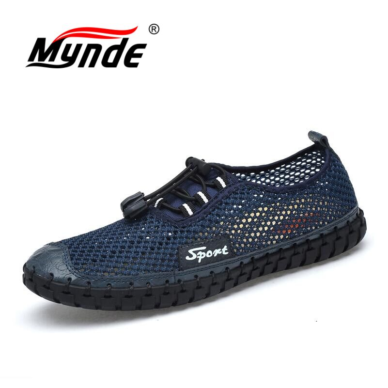 MYNDE Summer Men Casual shoes  Mesh Breathable Handmade Men shoes Soft Slip-On Loafers Men Flats Driving shoes Big size 38-46