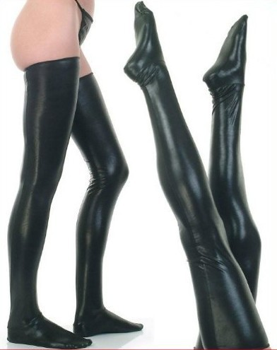 Buy Sexy Lingerie Faux Leather Stockings Leg Wear Stockings Women Sexy Black Latex Stockings Wet Look High Stockings Club Dance wear