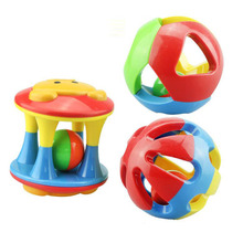 Купить с кэшбэком Colorful Baby Toys Handbell Newborn Baby Rattles Handle Toys Funny Fitness Ball Grasping Ball Hot Selling Baby Toy