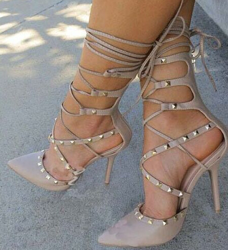 Hot Selling Beige Grey Patent Leather Lace-up High Heels Pumps for Women Covered Heel Pointed Toe Ankle Strappy Stud Dress Shoes blanco elipso s ii grey beige