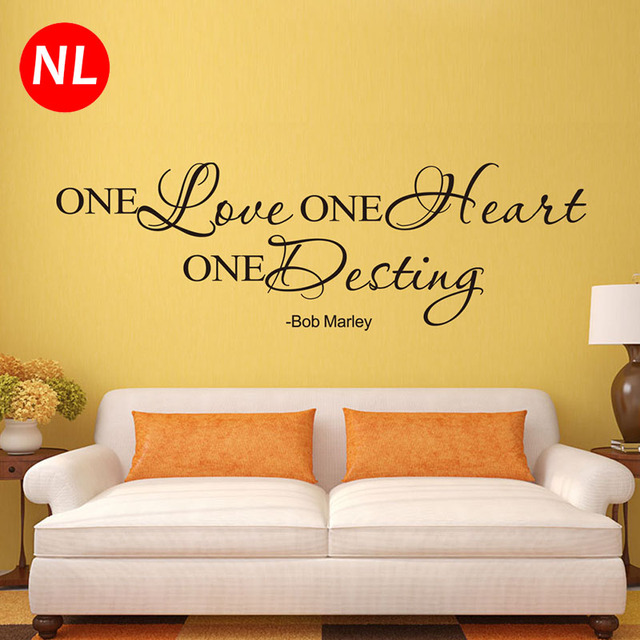 Bob Marley One Love One Heart Quote Art Wall Stickers For Living ...