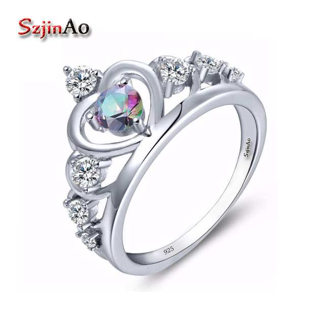 Szjinao 100 Sterling Silver 925 Stamp Engagement Ring Crown Design Fire Mystic Rainbow Topaz Wedding Women Jewelry
