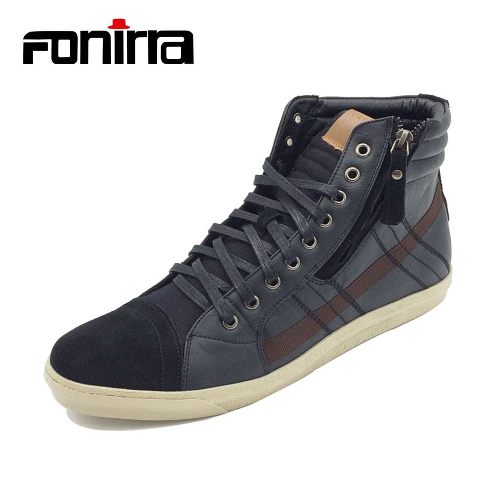 FONIRRA High Quality Men Casual Shoes Zip High Top Men Flat Shoes White Rubber Sole Fashion Men Boots 148 hot sale 2016 top quality brand shoes for men fashion casual shoes teenagers flat walking shoes high top canvas shoes zatapos