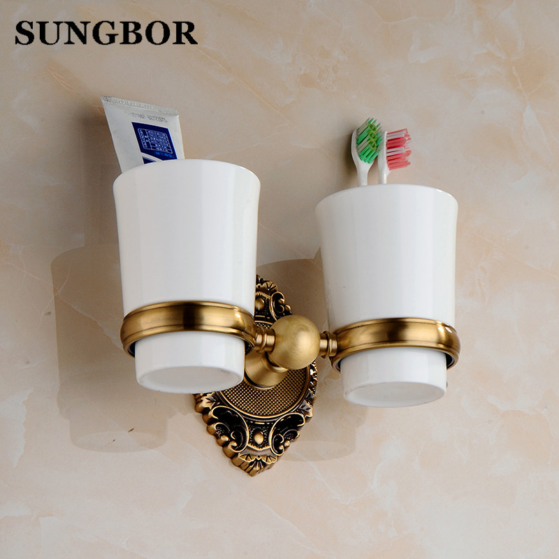 Brass Cup-toothbrush-holder Antique Double Toothbrush Tumbler Golden Ceramic Toothbrush Cup Holder Bathroom Accessories SH-6902F new modern washroom toothbrush holder luxury european style tumbler
