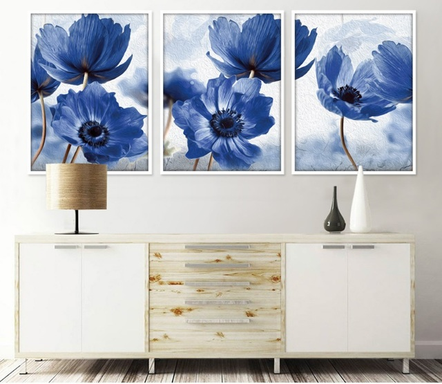 Nordic Simole Blue Flowers Decorative Paintings Wall Art Print Picture Canvas Painting Poster for Living Room No Framed