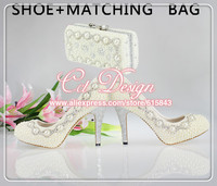 Free Shipping Custom Made Handmade Women High Heels Wedding Bridal Shoes Ivory Italian Shoes With Matching