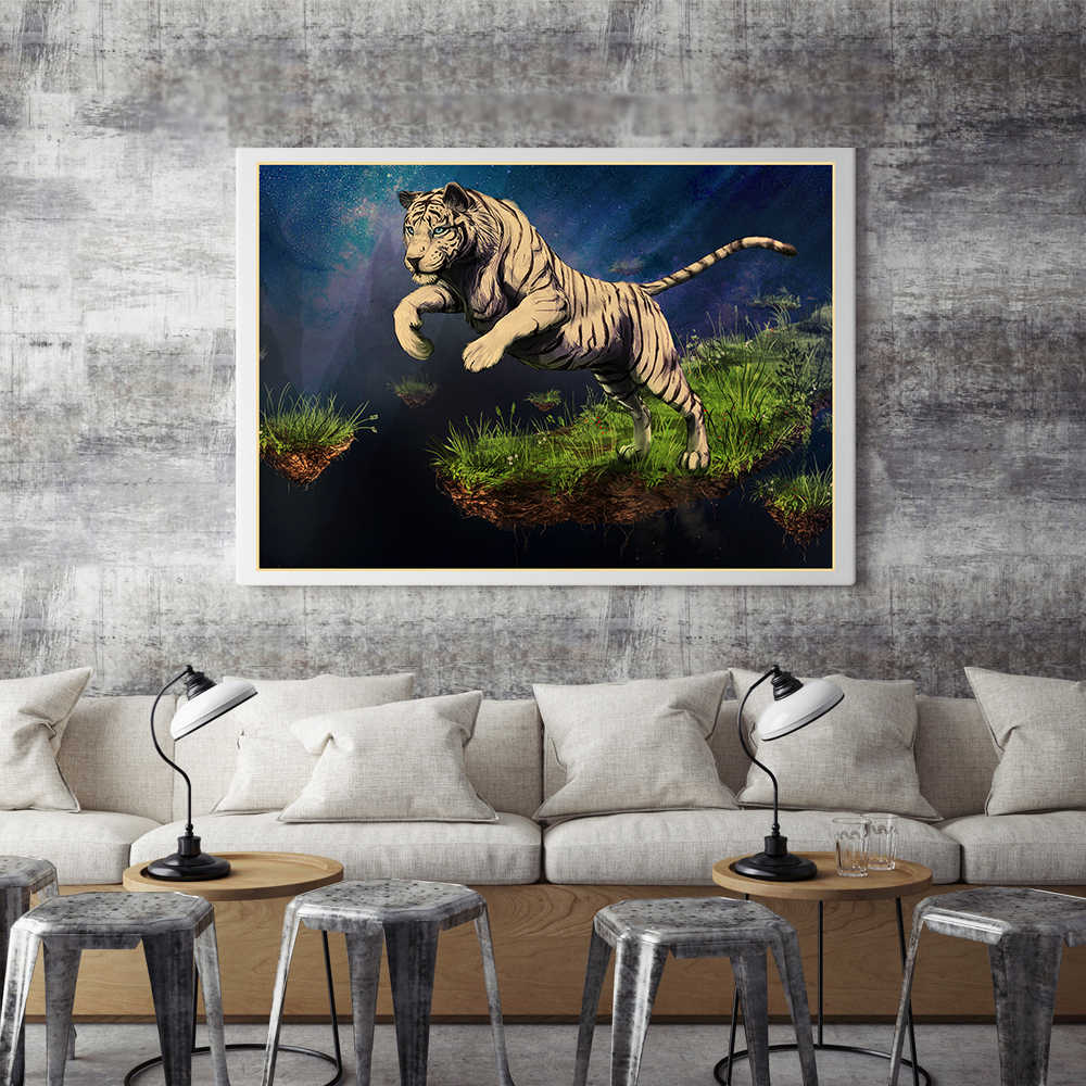 Jumping Tiger Kraft Paper Poster House Decoration Living Room Bar Cafe Home Decor Wall Stickers Retro