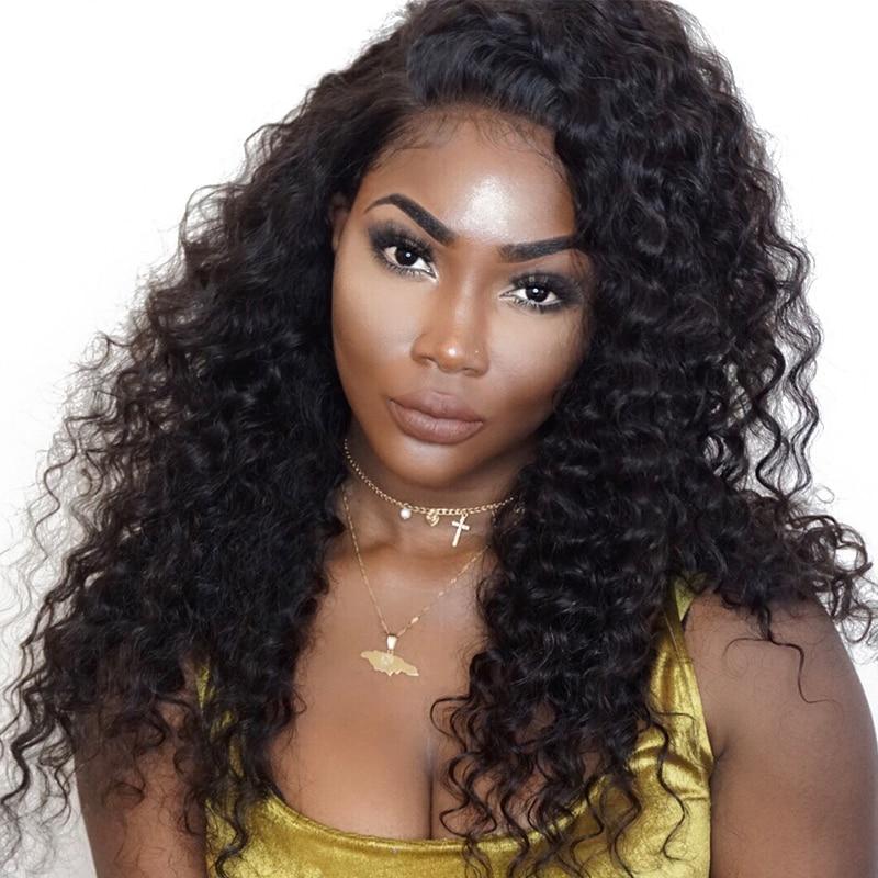 360 Синтетический Frontal шнурка волос Парик предварительно сорвал с для волос бразильский глубокая волна Синтетические волосы на кружеве Человеческие волосы Искусственные парики для Для женщин натуральный черный Реми Cara