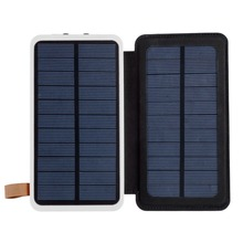 Solar Power Bank 300000mAh  Waterproof powerbank Charger Doubled Fold Portable Power Source With Camping Light For Mobile Phone