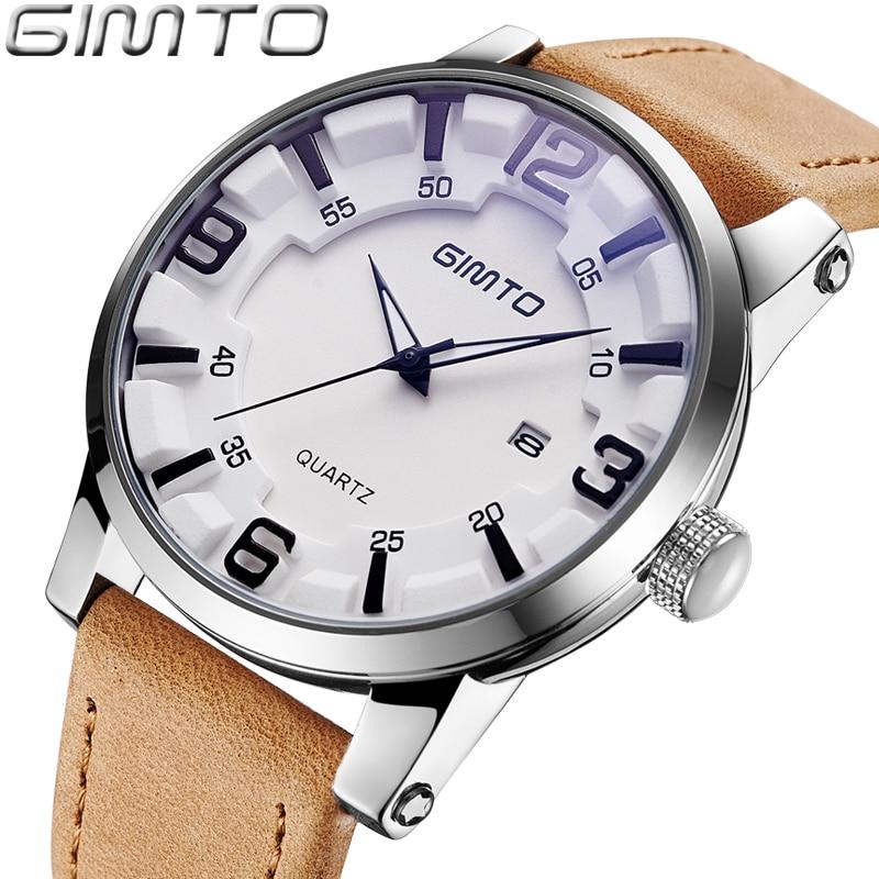 GIMTO Mens Watches Top Brand Luxury Leather Male Clock Creative Men Quartz Watch Waterproof Military Sport Relogio Masculino цена