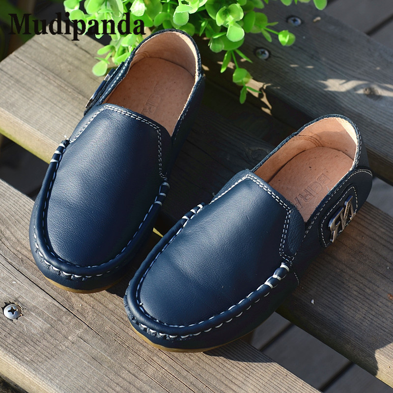 Mudipanda Childrens Genuine Leather shoes boys flat fashion bean shoes tide casual shoes White red black yellow brown blue