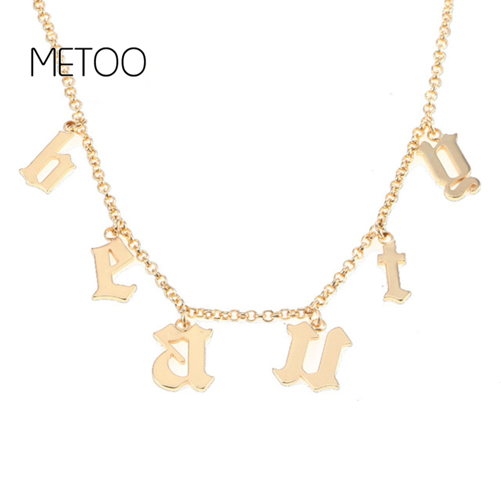 METOO Old English Name Numbers Letter Necklace Choker Nnecklace In the Style Personalized Necklaces & Pendants Gift
