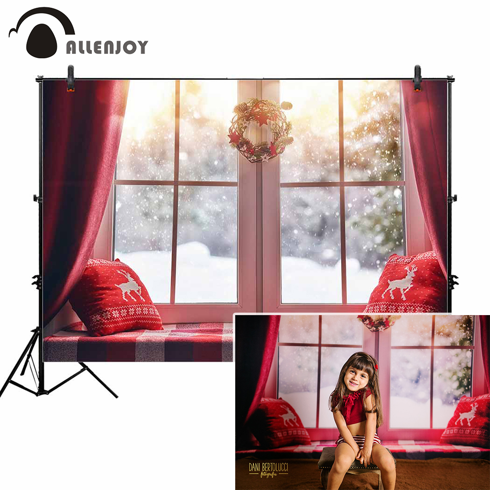 Allenjoy photo background fotografia christmas decorated window winter forest snowing red reindeer pillow photographic backdrop 10 20feet 300 600cm background deep meters blank flax fotografia