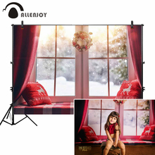 Allenjoy photo background fotografia christmas window winter forest snowing red photography backdrop photophone photozone allenjoy photography backdrops snowman decoration window winter forest christmas landscape balls photo studio background camera