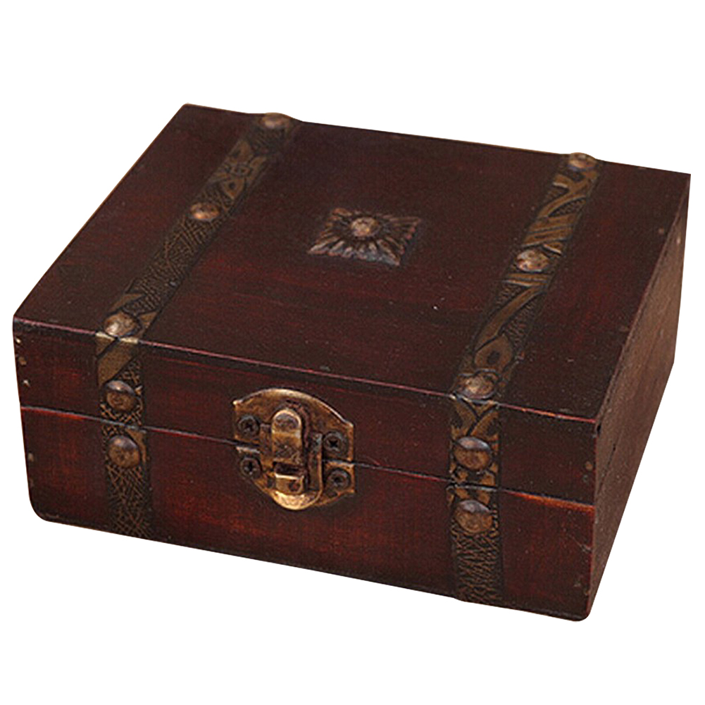 NOCM Wooden Vintage Lock Treasure Chest Jewelery Storage Box Case Organiser Ring Gift