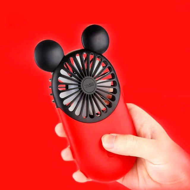 2019 Newest Creative Mini Cartoon Mickey Fan Handheld 3 Colors USB Electric Mini Hand Portable Fan With Free Finger Ring Gift