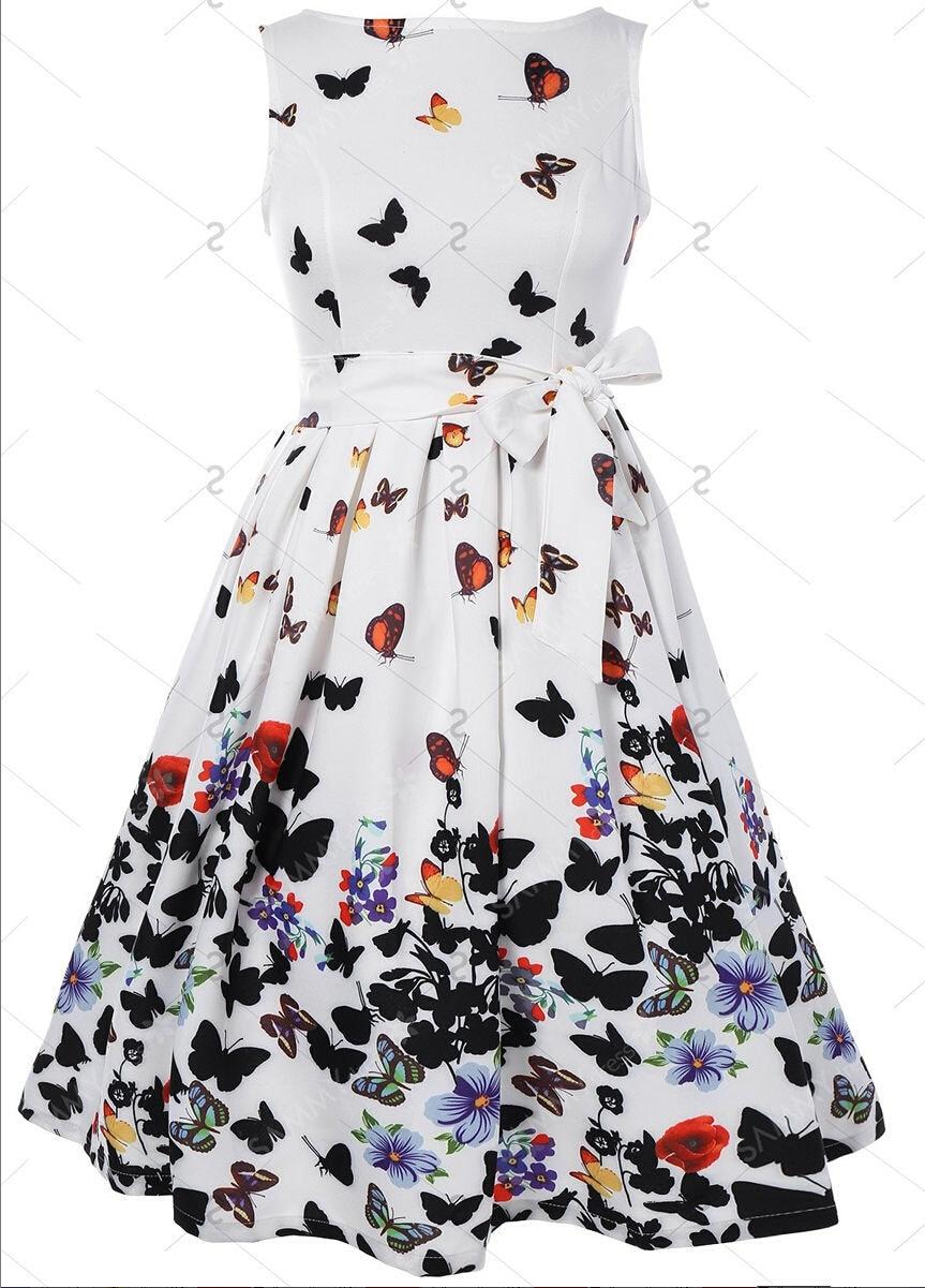 Women's Clothing Women Sexy Backless Dresses Summer Animal Print Butterfly Sweet Vintage 50s Elegant Gothic Black Sleeveless Retro A Line Dress