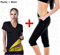 Hot Shapers Mujeres Térmica de Neopreno Que Adelgaza los pantalones de Fitness T shirt set Body Slimming suit sudoración corsés shapers cintura trainer