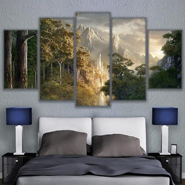 Leinwand Bilder Wand Kunst Home Liveing Zimmer Decor 5 Stücke Schloss In  Den Bergen