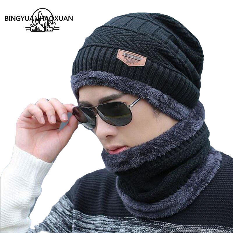 BINGYUANHAOXUAN 2017 Men Warm Hats Cap Scarf  Winter Wool Hat Knitting for Caps Lady Beanie Knitted Womens hats War