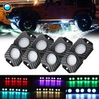 4 Pods RGB LED Rock Lights with Bluetooth Remote Multicolor Kit 4x4 Under LED Rock Light for SUV ATV Boat Car Decorative Light