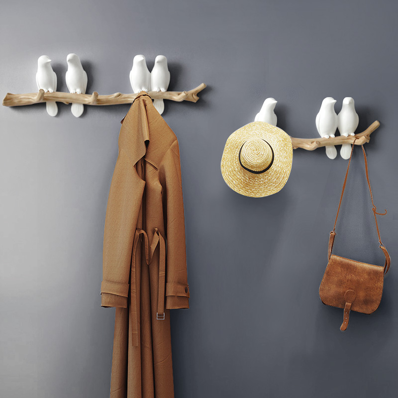 Resin birds figurine wall hooks decorative home decoration accessories key bag handbag coat rack holder wall hanger for clothes
