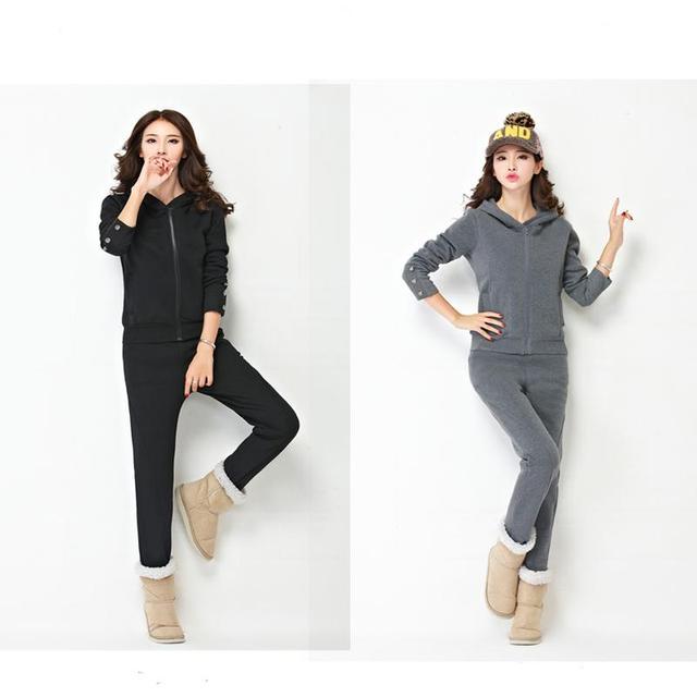 2 pcs terno de lã de lã feminino casaco de inverno camisolas Desportivas Terno Mulheres Lazer Treino Tops + Calça Terno Sportswear