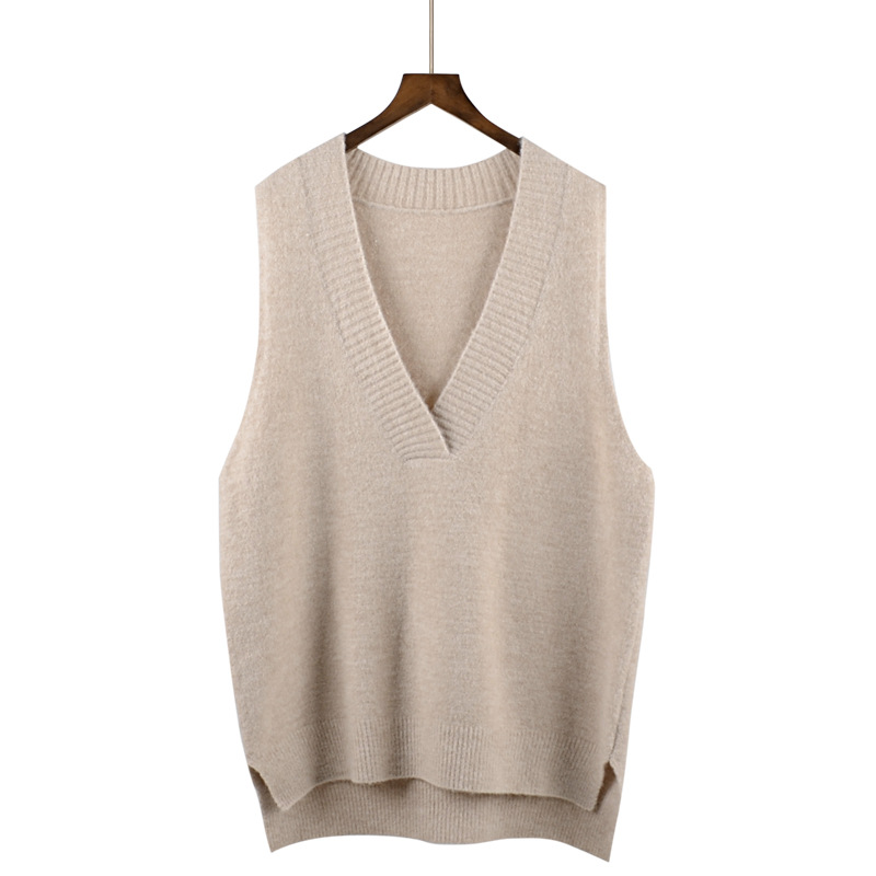2018 new wool sweater large V-neck sweater women head sleeveless vest loose Korean version vest spring and autumn vest