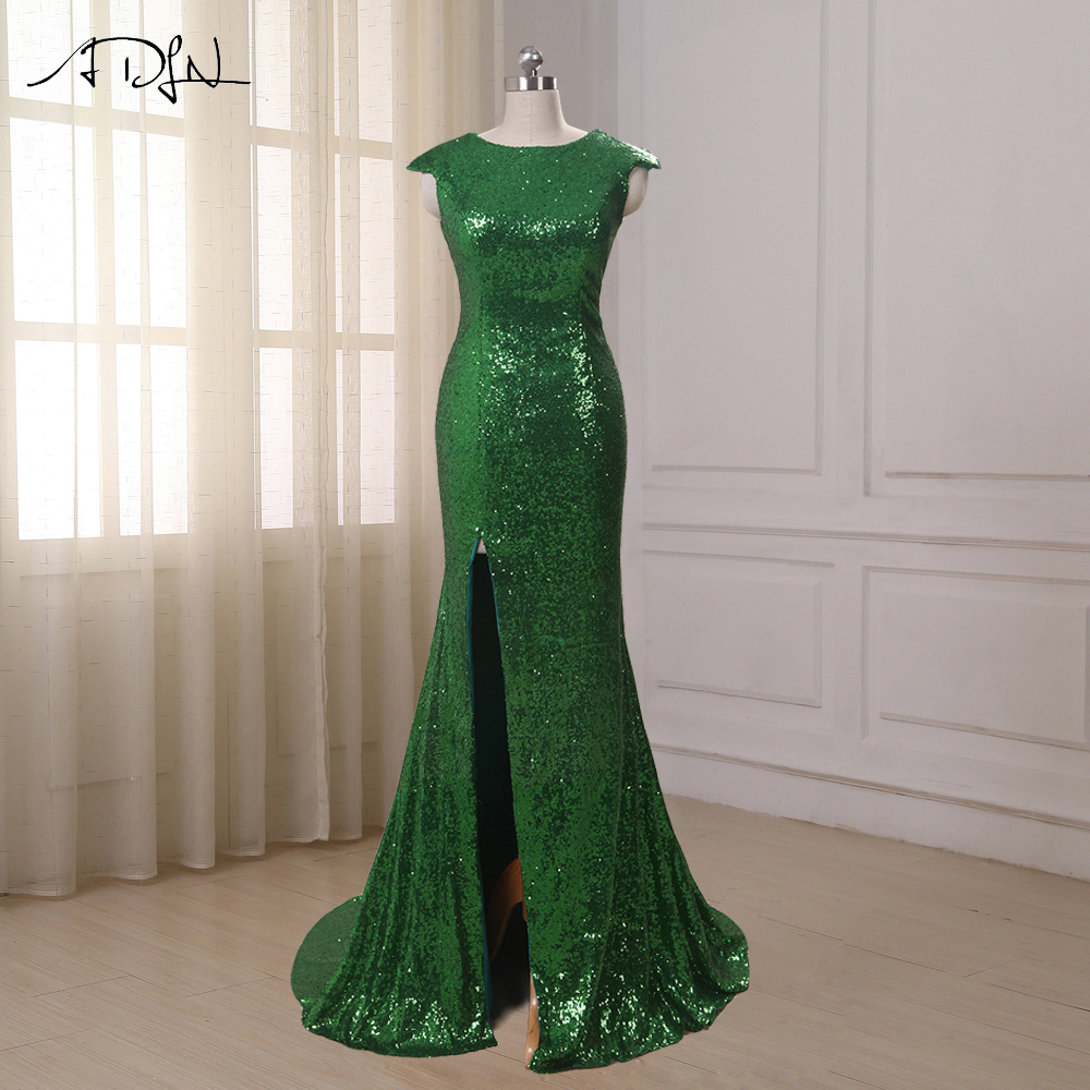 ADLN Առկա է Sequin Long երեկոյան զգեստ 2017 Sparkly Elegant Formal Dresses Mermaid Evening Gowns High Quality