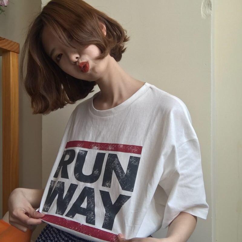 Women's RunWay Printed Tshirt Retro European Befree Summer Tops Tees Magliette Donna tumblr Cotton tshirts camisetas mujer