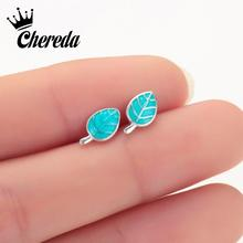 Chereda Delicate Leaf Tiny Stud Earring Minimalist Korean Style  Earrings Trendy Jewelry