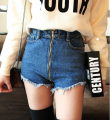 New summer brand Korean Slim denim shorts female high waist trousers Women Big yards sexy blue zippers stretch short jeans