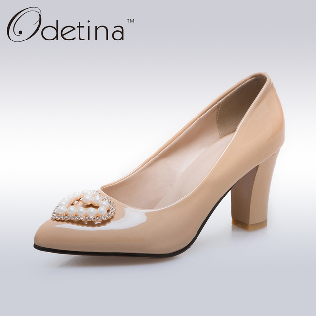 0fea2b9feb1 Odetina 2017 New Womens Chunky Heel Pumps With Designs Slip On Elegant High  Heels Crystal Shoes Dress Pumps Pearl Square Heel