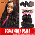 Malaysian Body Wave 3 Bundles With Closure 10A Grade Virgin Unprocessed Human Hair Bundles With Lace Closures Mink Hair Weave