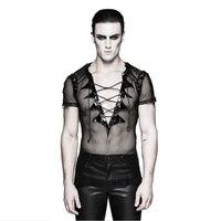 Punk Bat Wings Collar Net T Shirt Performance Costume Gothic Transparent Short Sleeves Men T shirts V Neck Mesh Clubwear