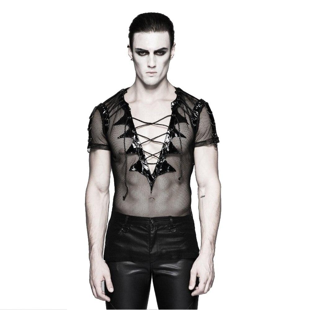 Punk Bat ailes col Net T Shirt Performance Costume gothique Transparent manches courtes hommes T-shirts col en V maille Clubwear