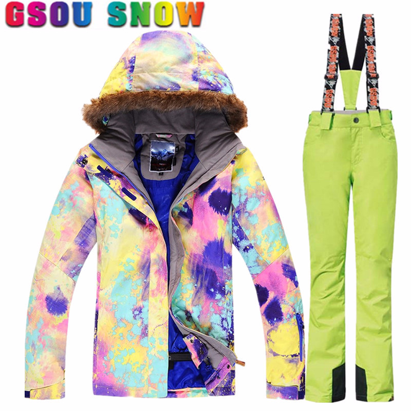 Gsou Snow Women Ski Suits Winter Snowboarding Jackets and Pants Windproof Waterproof Colorful Female Outdoor Sports Skiing SetsGsou Snow Women Ski Suits Winter Snowboarding Jackets and Pants Windproof Waterproof Colorful Female Outdoor Sports Skiing Sets