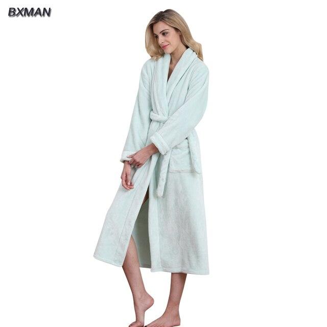 95855f172f18 BXMAN Brand New Winter 100% Polyester Sexy Robe Women Polyester Womens  Flannel Bathrobe Homewear
