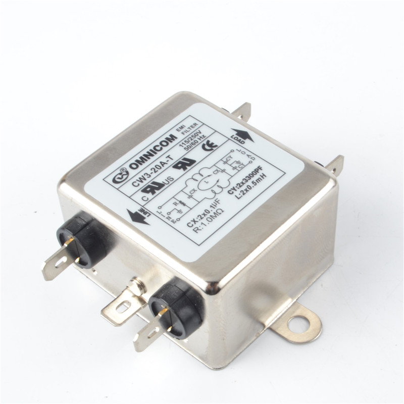Single Phase AC Power Line EMI Filter AC 115//250V 50//60Hz 20A Suppressor