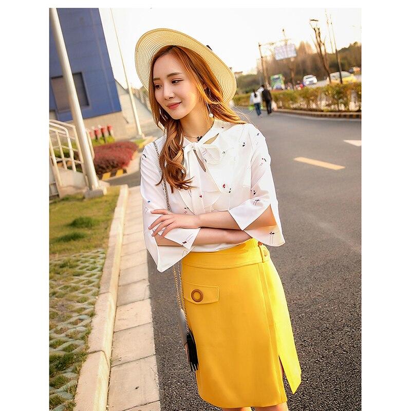 Yellow Ensemble Tempérament Coréenne Robe Long Dames Le 2017 Version D'été Paragraphe Encens Nouveau Mode Petit Femme De La Un Mot xwqCH6SY6