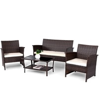 4 Pcs/Set High Quality Outdoor Patio Rattan Furniture Wicker Sofa Set Modern Outdoor Furniture Table and Chair Patio HW57026