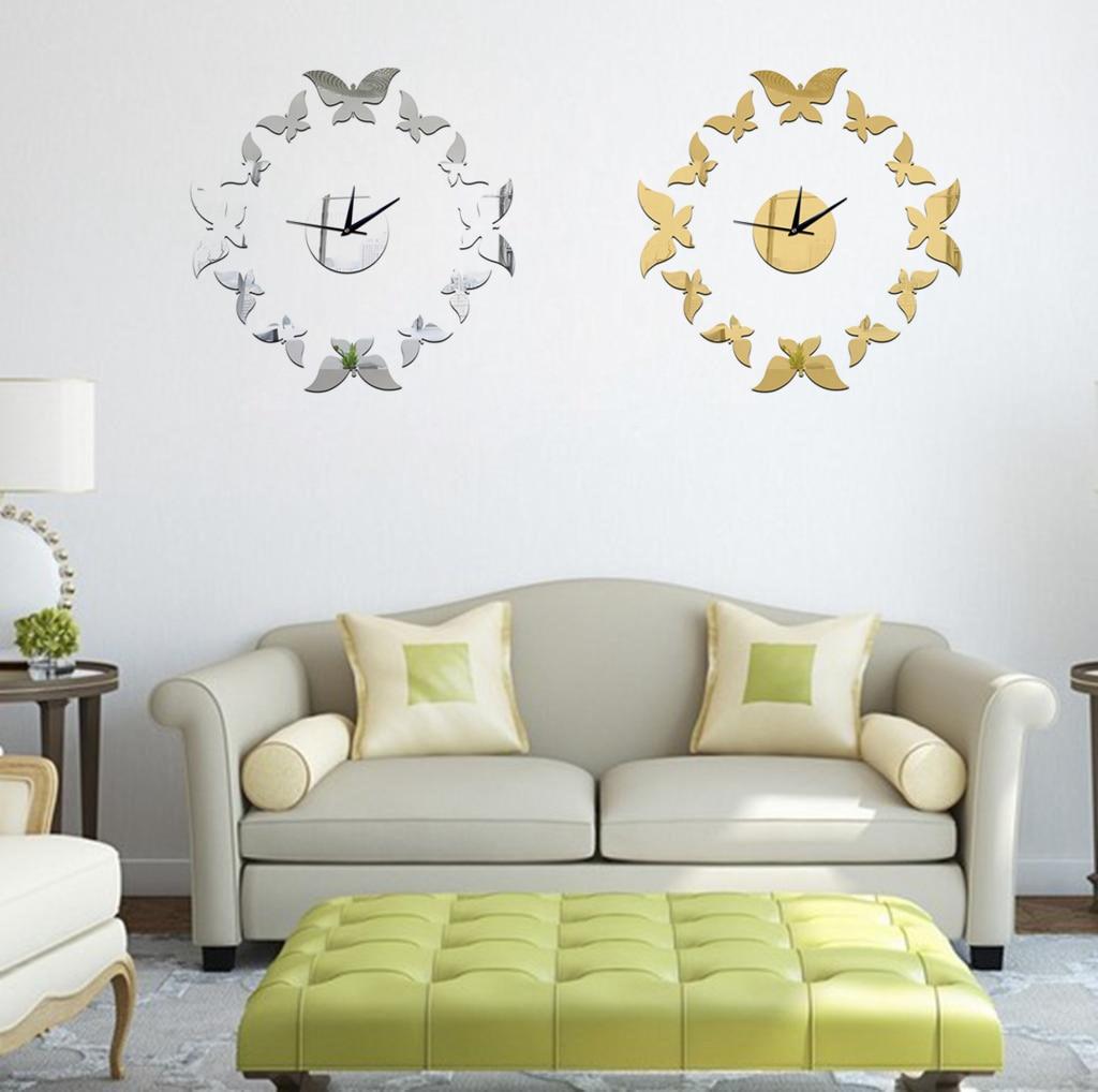 Fashion Clock Home Decor Poster DIY Acrylic Large 3D Butterfly Sticker Home Decor Clocks E2S