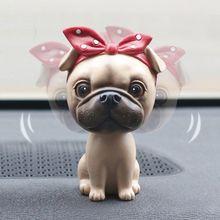 Figurines Miniatures Dog-Shaking-Head-Ornaments Garden-Decoration Swing Crafts Car-Interior-Pendant