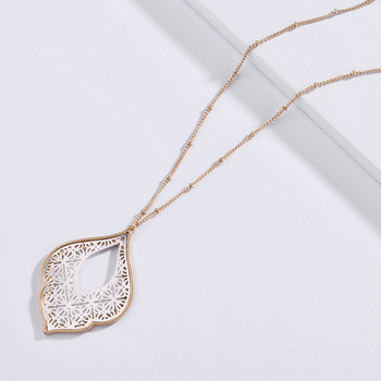 ZWPON 2020 New Gold Filigree Morocco Teardrop Pendant Necklace for Women Fashion Two Tone Geometric Long Necklace Wholesale 1